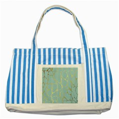 Mint,gold,marble,pattern Striped Blue Tote Bag by 8fugoso