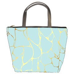 Mint,gold,marble,pattern Bucket Bags by 8fugoso