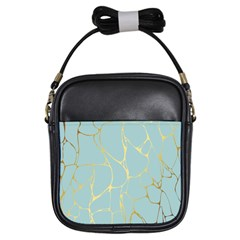 Mint,gold,marble,pattern Girls Sling Bags by 8fugoso