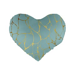 Mint,gold,marble,pattern Standard 16  Premium Flano Heart Shape Cushions by 8fugoso