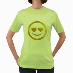 Gold Smiley Face Women s Green T Shirt by 8fugoso