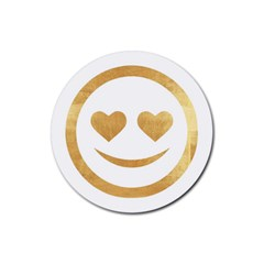Gold Smiley Face Rubber Round Coaster (4 Pack)  by 8fugoso