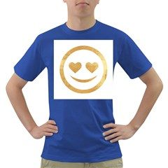 Gold Smiley Face Dark T-shirt by 8fugoso