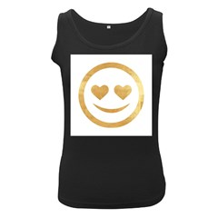 Gold Smiley Face Women s Black Tank Top by 8fugoso