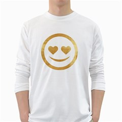 Gold Smiley Face White Long Sleeve T Shirts by 8fugoso