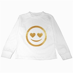 Gold Smiley Face Kids Long Sleeve T Shirts by 8fugoso