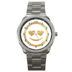 Gold Smiley Face Sport Metal Watch by 8fugoso