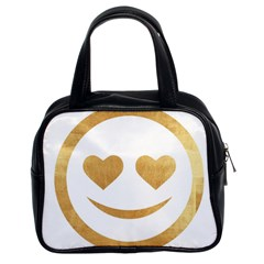 Gold Smiley Face Classic Handbags (2 Sides) by 8fugoso