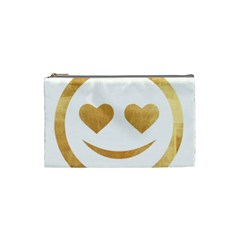 Gold Smiley Face Cosmetic Bag (small)  by 8fugoso