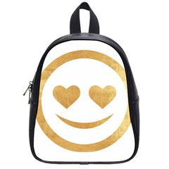 Gold Smiley Face School Bag (small) by 8fugoso