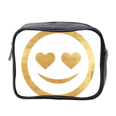 Gold Smiley Face Mini Toiletries Bag 2 Side by 8fugoso