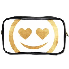 Gold Smiley Face Toiletries Bags 2 Side by 8fugoso