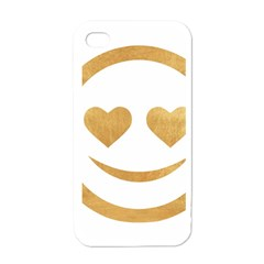 Gold Smiley Face Apple Iphone 4 Case (white) by 8fugoso