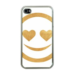 Gold Smiley Face Apple Iphone 4 Case (clear) by 8fugoso