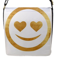 Gold Smiley Face Flap Messenger Bag (s) by 8fugoso