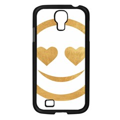 Gold Smiley Face Samsung Galaxy S4 I9500/ I9505 Case (black) by 8fugoso