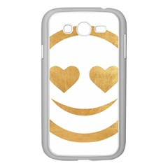 Gold Smiley Face Samsung Galaxy Grand Duos I9082 Case (white) by 8fugoso