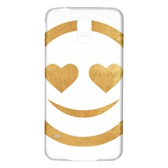 Gold Smiley Face Samsung Galaxy S5 Back Case (white) by 8fugoso
