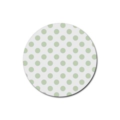 Green Dots Modern Pattern Paper Rubber Coaster (round)  by Celenk