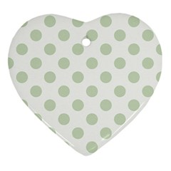 Green Dots Modern Pattern Paper Heart Ornament (two Sides) by Celenk