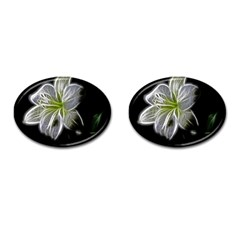 White Lily Flower Nature Beauty Cufflinks (oval) by Celenk