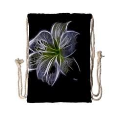 White Lily Flower Nature Beauty Drawstring Bag (small)