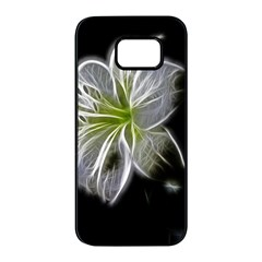 White Lily Flower Nature Beauty Samsung Galaxy S7 Edge Black Seamless Case
