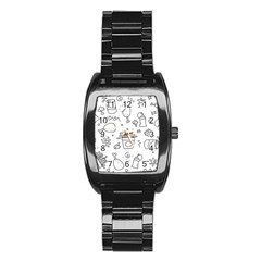Set Chalk Out Scribble Collection Stainless Steel Barrel Watch by Celenk