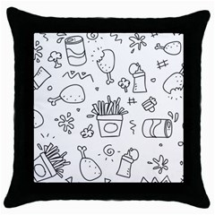 Set Chalk Out Scribble Collection Throw Pillow Case (black) by Celenk