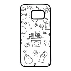 Set Chalk Out Scribble Collection Samsung Galaxy S7 Black Seamless Case by Celenk
