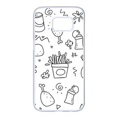 Set Chalk Out Scribble Collection Samsung Galaxy S7 Edge White Seamless Case by Celenk
