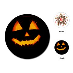 Pumpkin Helloween Face Autumn Playing Cards (round)  by Celenk