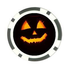 Pumpkin Helloween Face Autumn Poker Chip Card Guard (10 Pack) by Celenk
