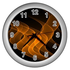 Background Light Glow Abstract Art Wall Clocks (silver)  by Celenk