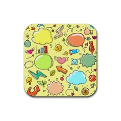 Cute Sketch Child Graphic Funny Rubber Coaster (square)  by Celenk