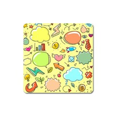 Cute Sketch Child Graphic Funny Square Magnet