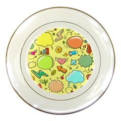 Cute Sketch Child Graphic Funny Porcelain Plates by Celenk