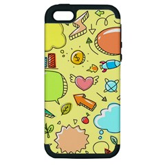 Cute Sketch Child Graphic Funny Apple Iphone 5 Hardshell Case (pc+silicone) by Celenk