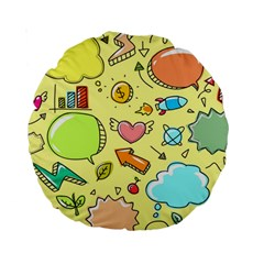 Cute Sketch Child Graphic Funny Standard 15  Premium Round Cushions