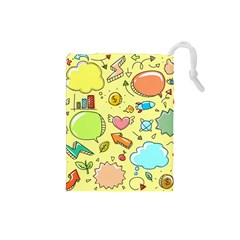 Cute Sketch Child Graphic Funny Drawstring Pouches (small)  by Celenk