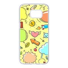 Cute Sketch Child Graphic Funny Samsung Galaxy S7 Edge White Seamless Case by Celenk