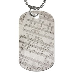Sheet Music Paper Notes Antique Dog Tag (one Side) by Celenk