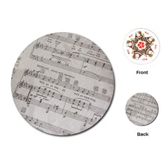 Sheet Music Paper Notes Antique Playing Cards (round)  by Celenk