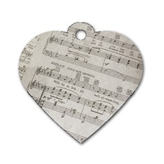 Sheet Music Paper Notes Antique Dog Tag Heart (two Sides) by Celenk