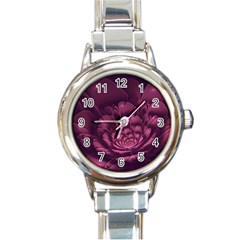 Fractal Blossom Flower Bloom Round Italian Charm Watch by Celenk