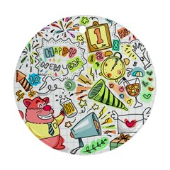 Doodle New Year Party Celebration Ornament (round) by Celenk