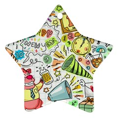 Doodle New Year Party Celebration Ornament (star)