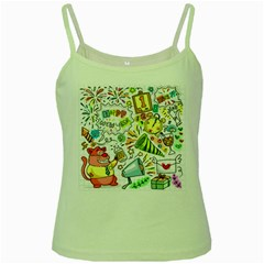 Doodle New Year Party Celebration Green Spaghetti Tank by Celenk