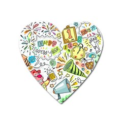 Doodle New Year Party Celebration Heart Magnet
