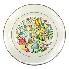 Doodle New Year Party Celebration Porcelain Plates by Celenk